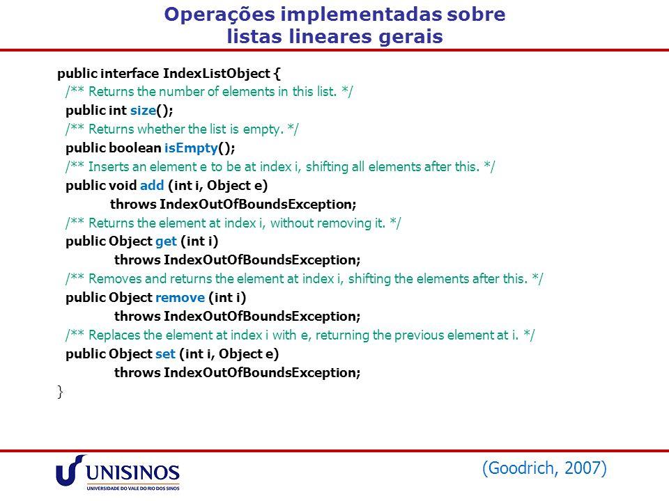 Operações implementadas sobre listas lineares gerais public interface IndexListObject { /** Returns the number of elements in this list. */ public int