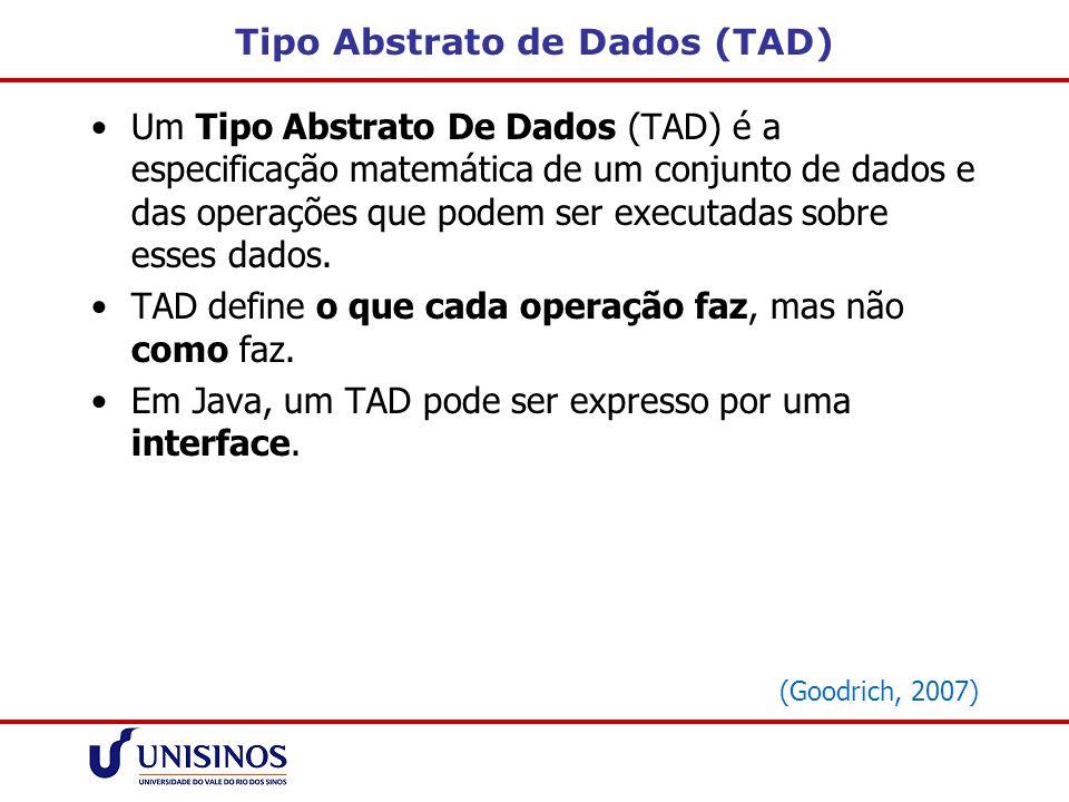 Tipo Abstrato de Dados (TAD) Um Tipo Abstrato De Dados (TAD) é a especificação matemática de um conjunto de dados e das operações que podem ser execut