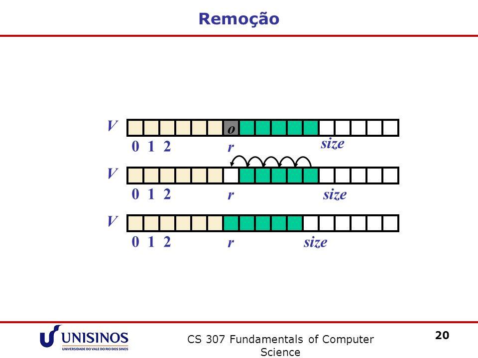 CS 307 Fundamentals of Computer Science 20 Remoção V 012size r V 012 o r V 012 r