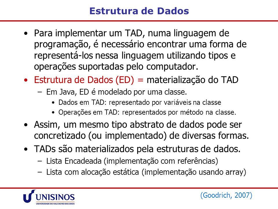 Estouro das Listas Estouro de listas: –Estouro negativo (underflow): lista vazia sofre operação de extração –Estouro positivo (overflow): quando a inserção de um elemento excede a capacidade total da lista.