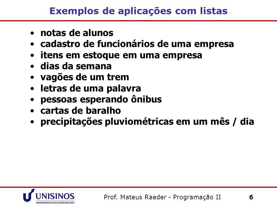 Prof. Mateus Raeder - Programação II 6 Exemplos de aplicações com listas notas de alunos cadastro de funcionários de uma empresa itens em estoque em u