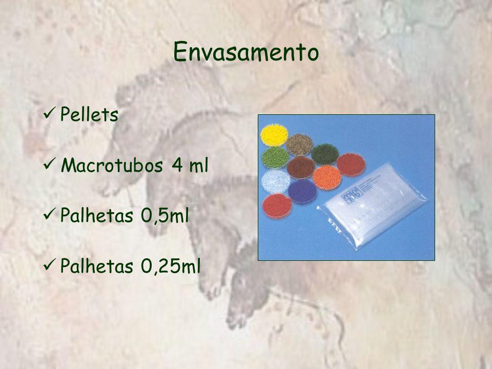 Envasamento Pellets Macrotubos 4 ml Palhetas 0,5ml Palhetas 0,25ml