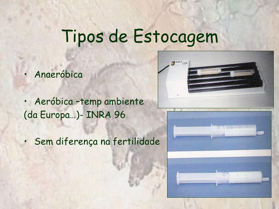 Tipos de Estocagem Anaeróbica Aeróbica –temp ambiente (da Europa…)- INRA 96 Sem diferença na fertilidade