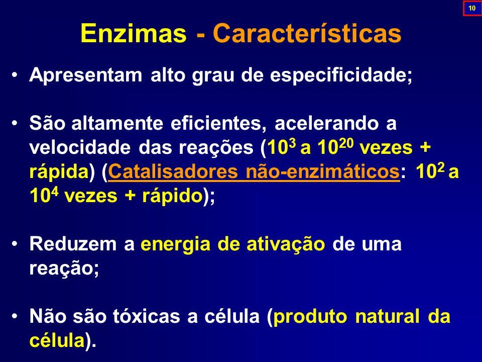 Apresentam alto grau de especificidade; São altamente eficientes, acelerando a velocidade das reações (10 3 a 10 20 vezes + rápida) (Catalisadores não-enzimáticos: 10 2 a 10 4 vezes + rápido); Reduzem a energia de ativação de uma reação; Não são tóxicas a célula (produto natural da célula).