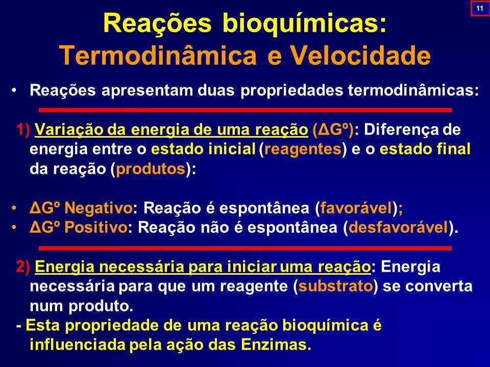 Reações apresentam duas propriedades termodinâmicas: 1) Variação da energia de uma reação (ΔGº): Diferença de energia entre o estado inicial (reagentes) e o estado final da reação (produtos): ΔGº Negativo: Reação é espontânea (favorável); ΔGº Positivo: Reação não é espontânea (desfavorável).