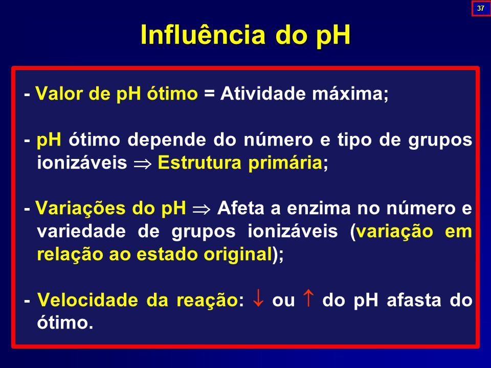 - Valor de pH ótimo = Atividade máxima; - pH ótimo depende do número e tipo de grupos ionizáveis  Estrutura primária; - Variações do pH  Afeta a enzima no número e variedade de grupos ionizáveis (variação em relação ao estado original); - Velocidade da reação:  ou  do pH afasta do ótimo.