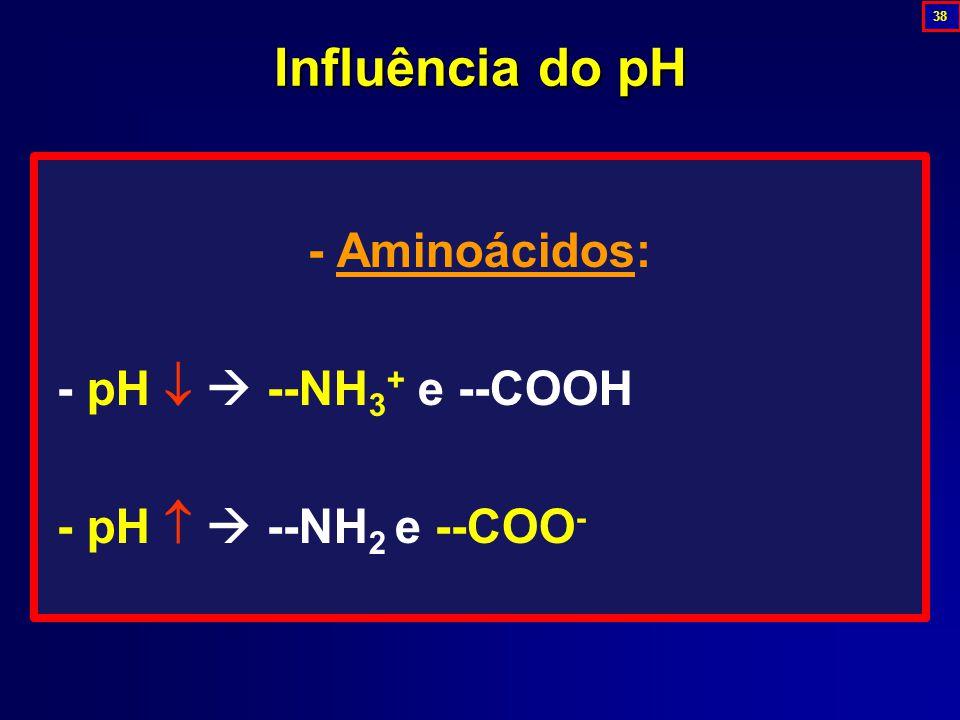 - Aminoácidos: - pH   --NH 3 + e --COOH - pH   --NH 2 e --COO - Influência do pH 38