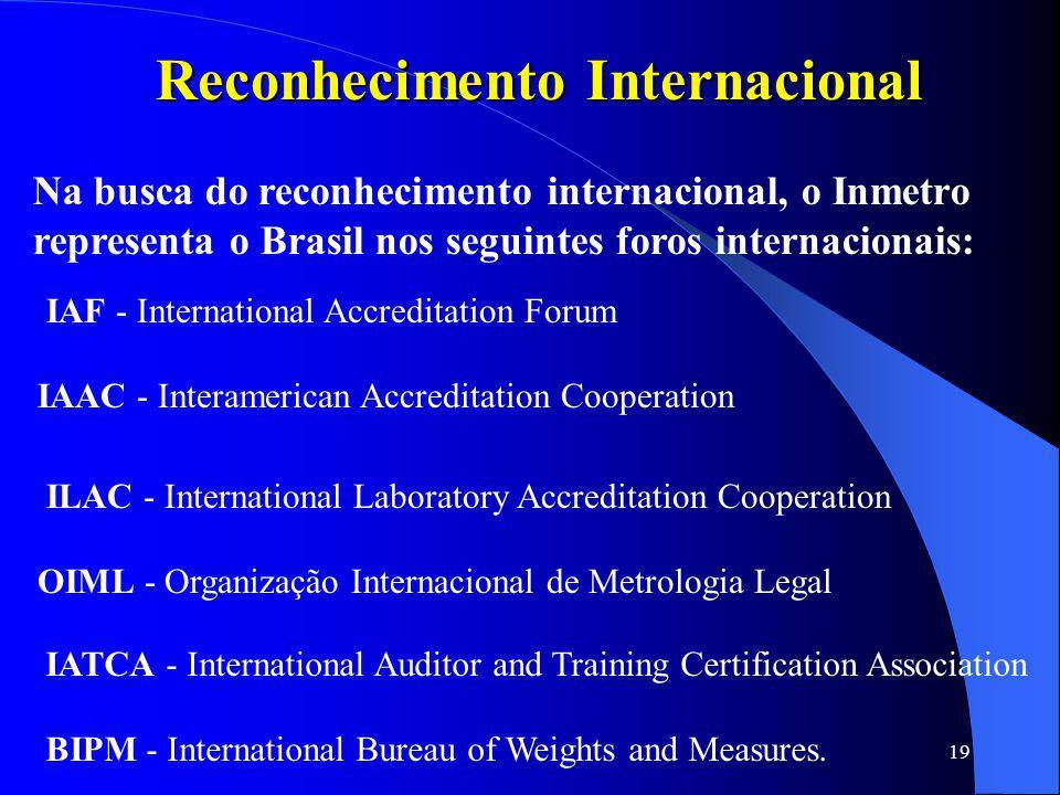 19 Reconhecimento Internacional Na busca do reconhecimento internacional, o Inmetro representa o Brasil nos seguintes foros internacionais: IAF - Inte
