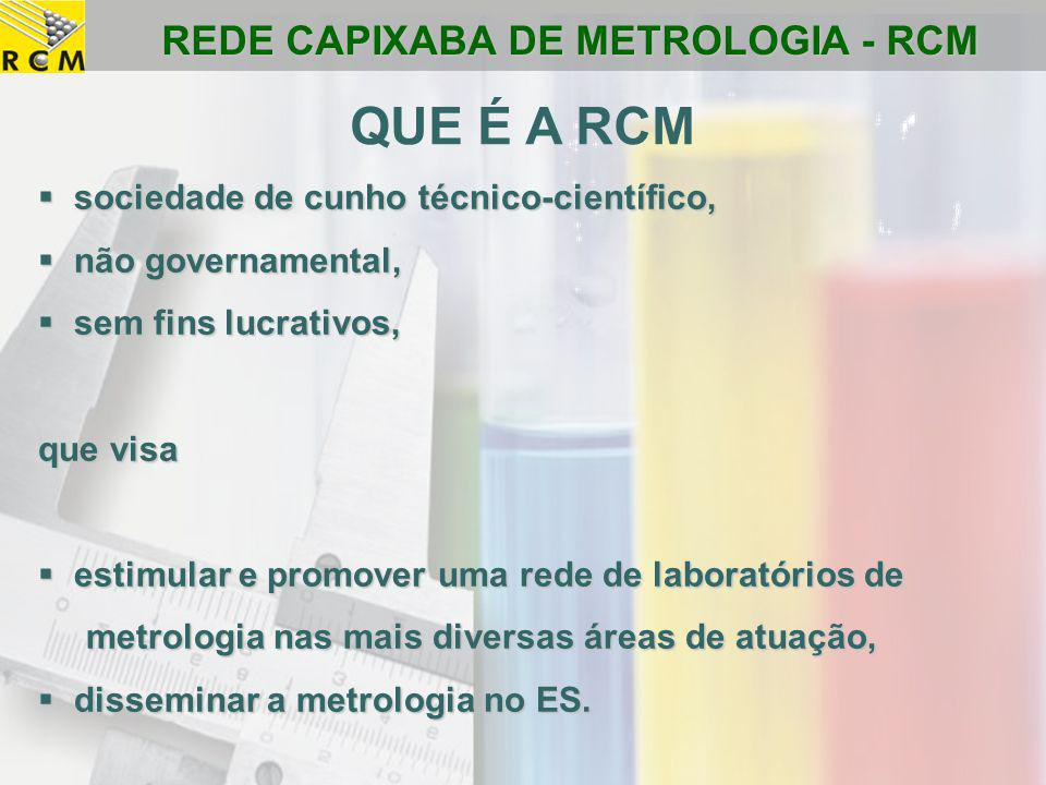 REDE CAPIXABA DE METROLOGIA - RCM  sociedade de cunho técnico-científico,  não governamental,  sem fins lucrativos, que visa  estimular e promover