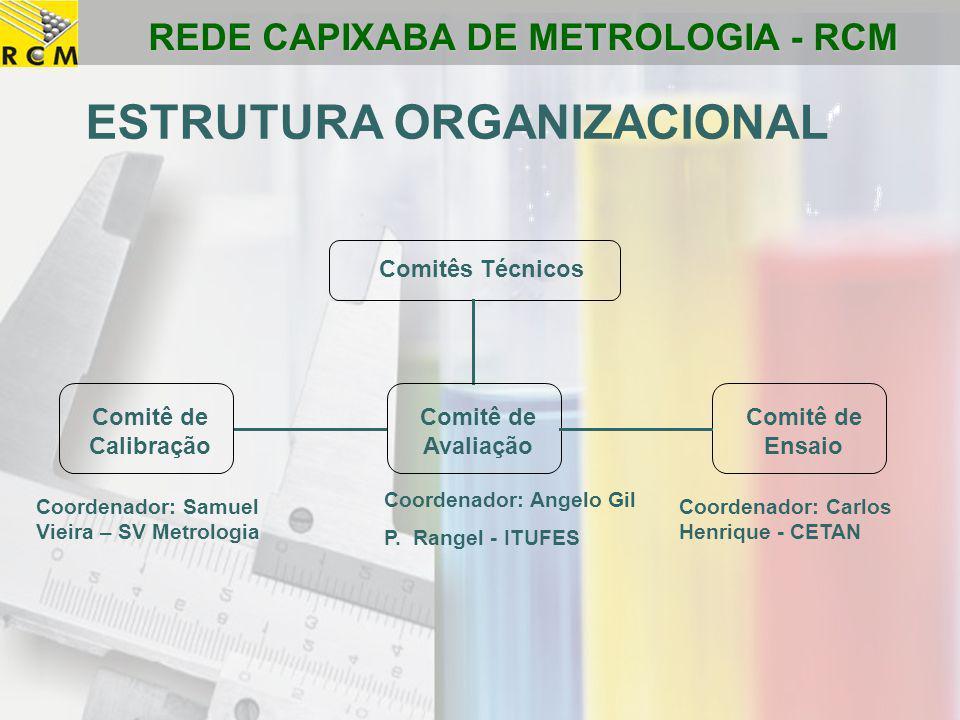 REDE CAPIXABA DE METROLOGIA - RCM Comitês Técnicos Comitê de Avaliação Comitê de Calibração Comitê de Ensaio ESTRUTURA ORGANIZACIONAL Coordenador: Sam