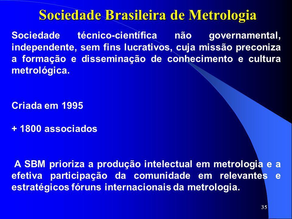 35 Sociedade Brasileira de Metrologia Sociedade técnico-científica não governamental, independente, sem fins lucrativos, cuja missão preconiza a forma