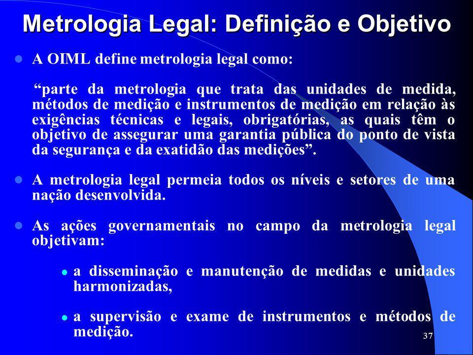 """37 Metrologia Legal: Definição e Objetivo A OIML define metrologia legal como: """"parte da metrologia que trata das unidades de medida, métodos de mediç"""
