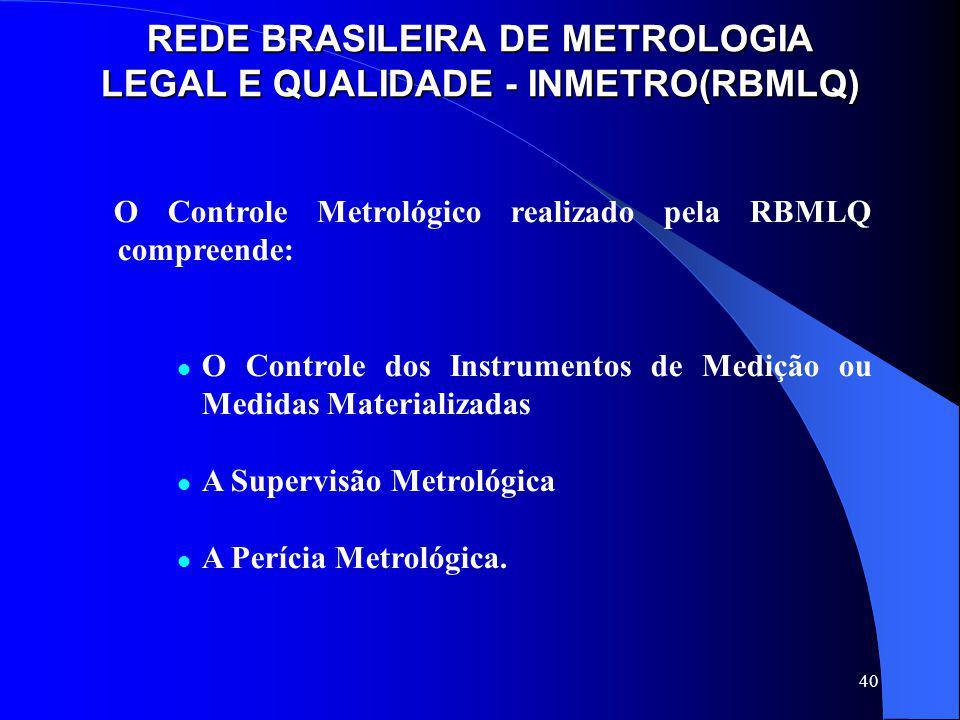 40 REDE BRASILEIRA DE METROLOGIA LEGAL E QUALIDADE - INMETRO(RBMLQ) O Controle Metrológico realizado pela RBMLQ compreende: O Controle dos Instrumento