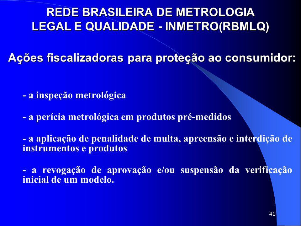 41 Ações fiscalizadoras para proteção ao consumidor: Ações fiscalizadoras para proteção ao consumidor: - a inspeção metrológica - a perícia metrológic
