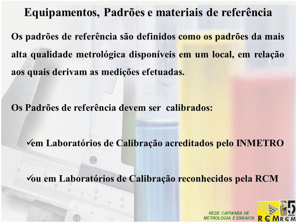 REDE CAPIXABA DE METROLOGIA E ENSAIOS Equipamentos, Padrões e materiais de referência Os padrões de referência são definidos como os padrões da mais a