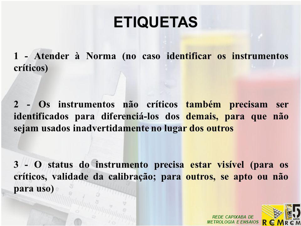 REDE CAPIXABA DE METROLOGIA E ENSAIOS 1 - Atender à Norma (no caso identificar os instrumentos críticos) 2 - Os instrumentos não críticos também preci