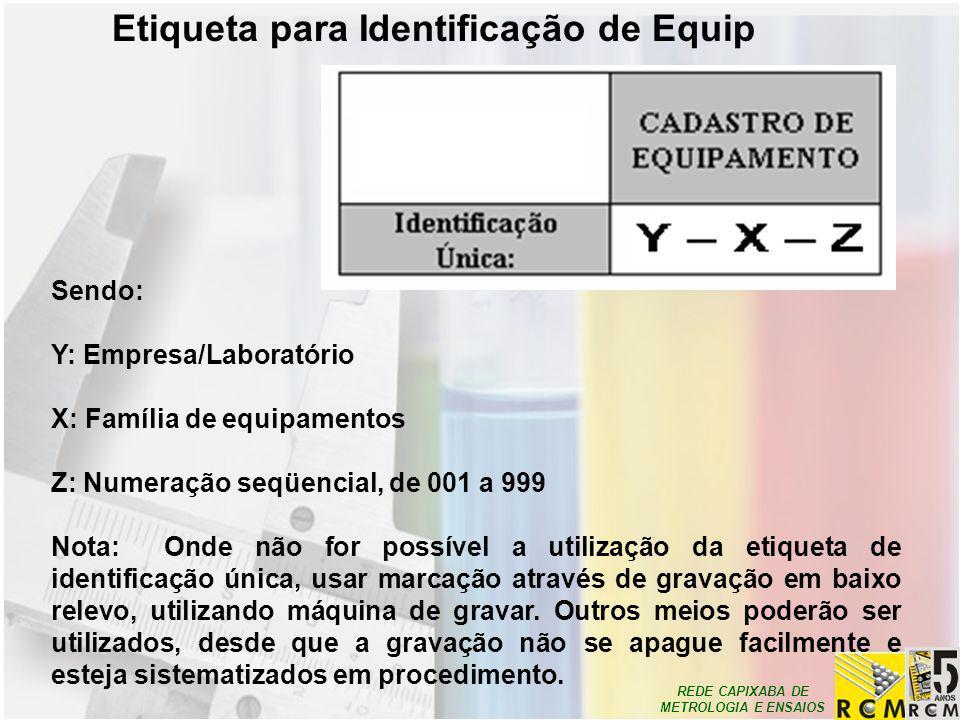 REDE CAPIXABA DE METROLOGIA E ENSAIOS Etiqueta para Identificação de Equip Sendo: Y: Empresa/Laboratório X: Família de equipamentos Z: Numeração seqüe