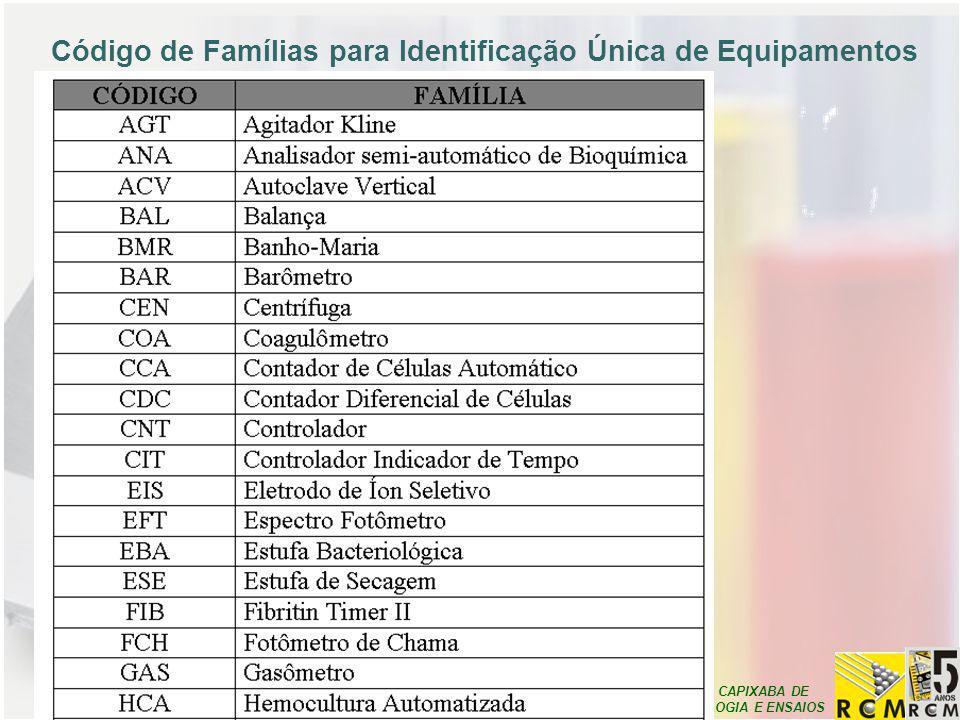 REDE CAPIXABA DE METROLOGIA E ENSAIOS Código de Famílias para Identificação Única de Equipamentos