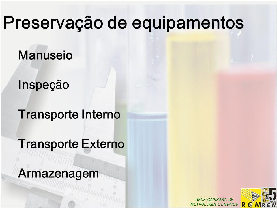 REDE CAPIXABA DE METROLOGIA E ENSAIOS Preservação de equipamentos Manuseio Inspeção Transporte Interno Transporte Externo Armazenagem