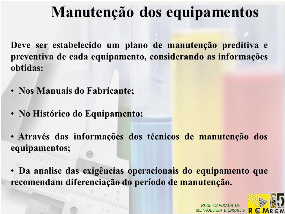 REDE CAPIXABA DE METROLOGIA E ENSAIOS Manutenção dos equipamentos Deve ser estabelecido um plano de manutenção preditiva e preventiva de cada equipame
