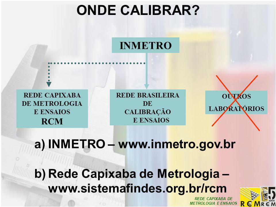 REDE CAPIXABA DE METROLOGIA E ENSAIOS INMETRO REDE BRASILEIRA DE CALIBRAÇÃO E ENSAIOS REDE CAPIXABA DE METROLOGIA E ENSAIOS RCM OUTROS LABORATÓRIOS a)