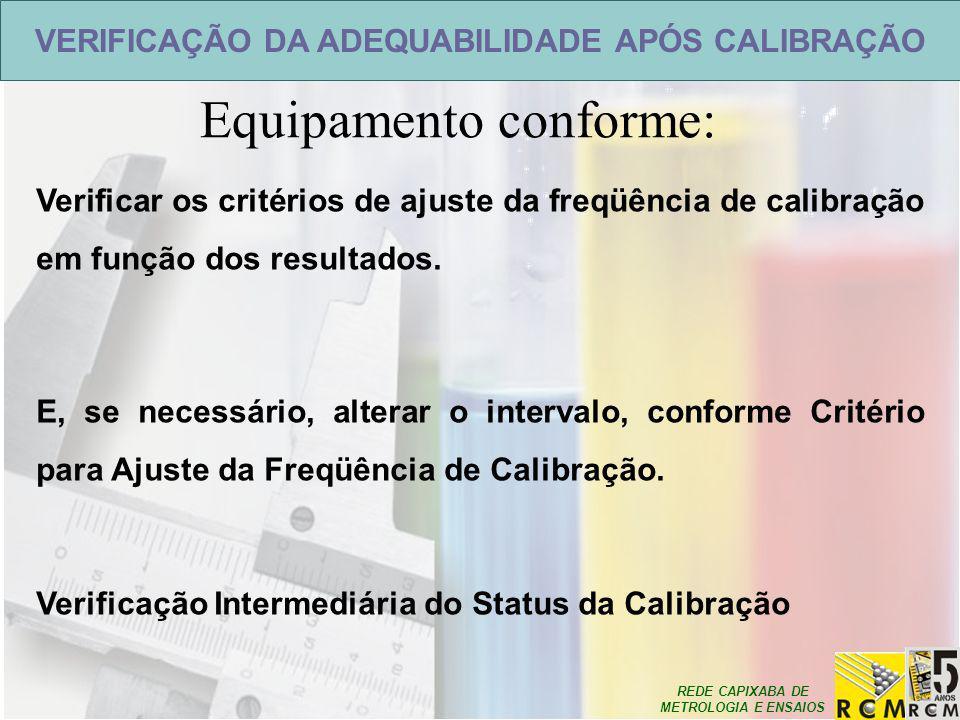 REDE CAPIXABA DE METROLOGIA E ENSAIOS Equipamento conforme: VERIFICAÇÃO DA ADEQUABILIDADE APÓS CALIBRAÇÃO Verificar os critérios de ajuste da freqüênc