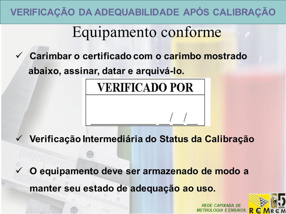 REDE CAPIXABA DE METROLOGIA E ENSAIOS VERIFICAÇÃO DA ADEQUABILIDADE APÓS CALIBRAÇÃO Equipamento conforme Carimbar o certificado com o carimbo mostrado