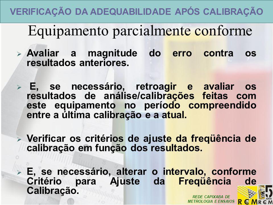 REDE CAPIXABA DE METROLOGIA E ENSAIOS VERIFICAÇÃO DA ADEQUABILIDADE APÓS CALIBRAÇÃO Equipamento parcialmente conforme  Avaliar a magnitude do erro co
