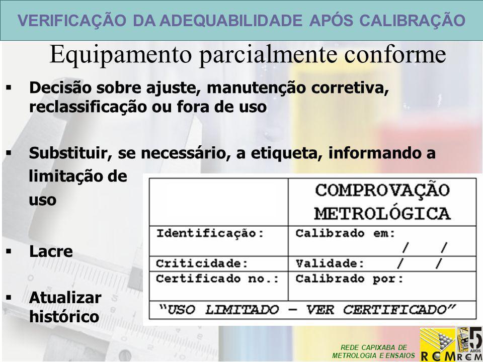 REDE CAPIXABA DE METROLOGIA E ENSAIOS VERIFICAÇÃO DA ADEQUABILIDADE APÓS CALIBRAÇÃO Equipamento parcialmente conforme  Decisão sobre ajuste, manutenç