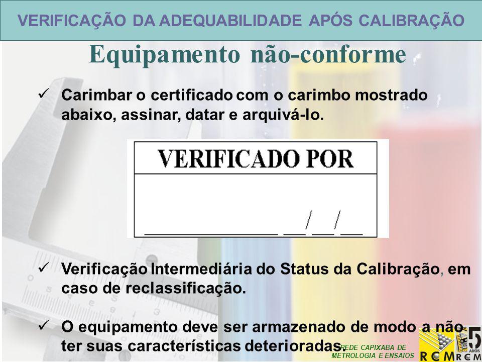 REDE CAPIXABA DE METROLOGIA E ENSAIOS VERIFICAÇÃO DA ADEQUABILIDADE APÓS CALIBRAÇÃO Equipamento não-conforme Carimbar o certificado com o carimbo most