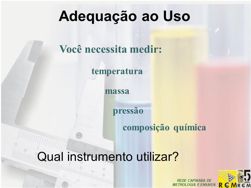 REDE CAPIXABA DE METROLOGIA E ENSAIOS Adequação ao Uso Você necessita medir: temperatura massa pressão composição química Qual instrumento utilizar?