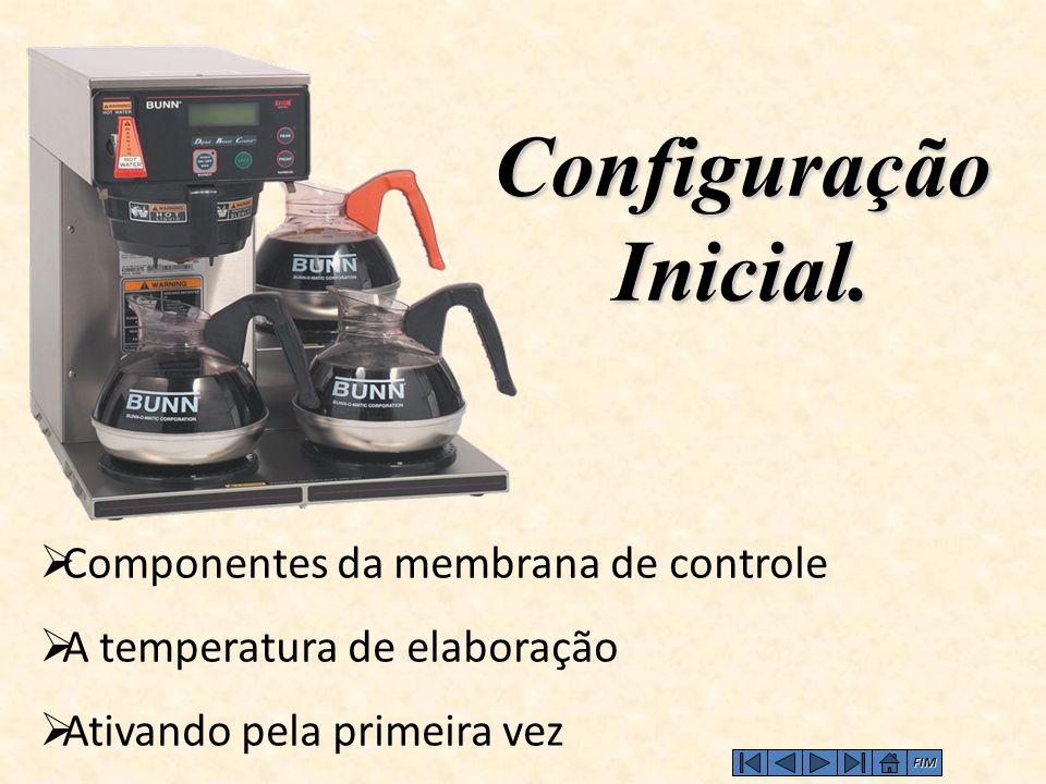 Configuração Inicial.  Componentes da membrana de controle  A temperatura de elaboração  Ativando pela primeira vez FIM