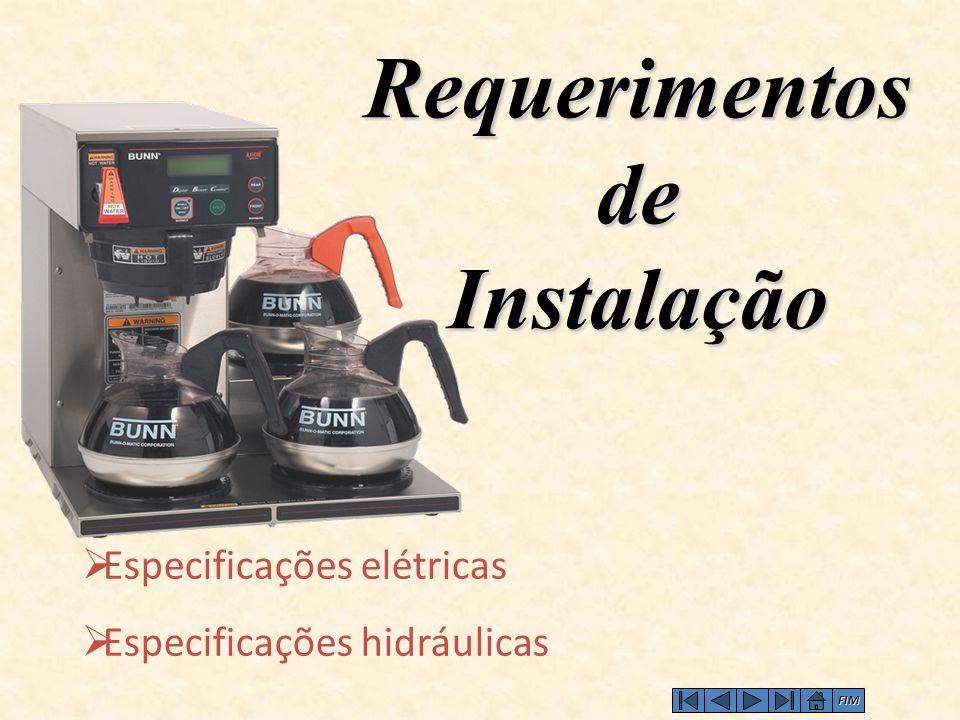  Especificações elétricas  Especificações hidráulicas Requerimentos de Instalação FIM