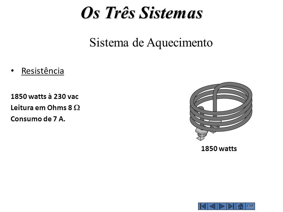 Resistência 1850 watts à 230 vac Leitura em Ohms 8  Consumo de 7 A. 1850 watts Sistema de Aquecimento Os Três Sistemas FIM