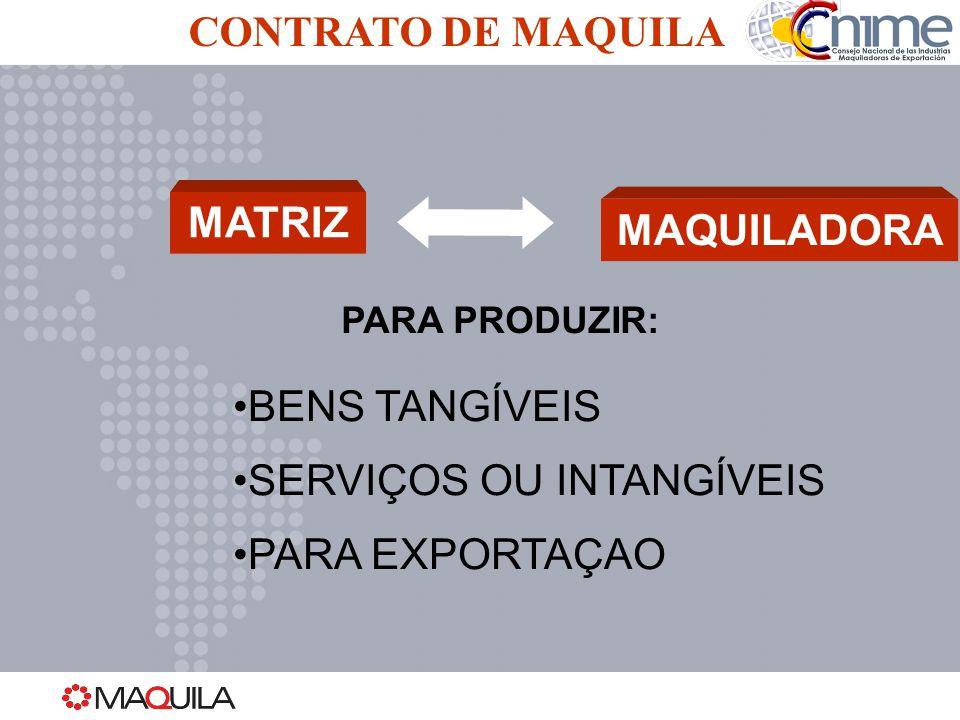 CONTRATO DE MAQUILA MATRIZMAQUILADORA PARA PRODUZIR: BENS TANGÍVEIS SERVIÇOS OU INTANGÍVEIS PARA EXPORTAÇAO