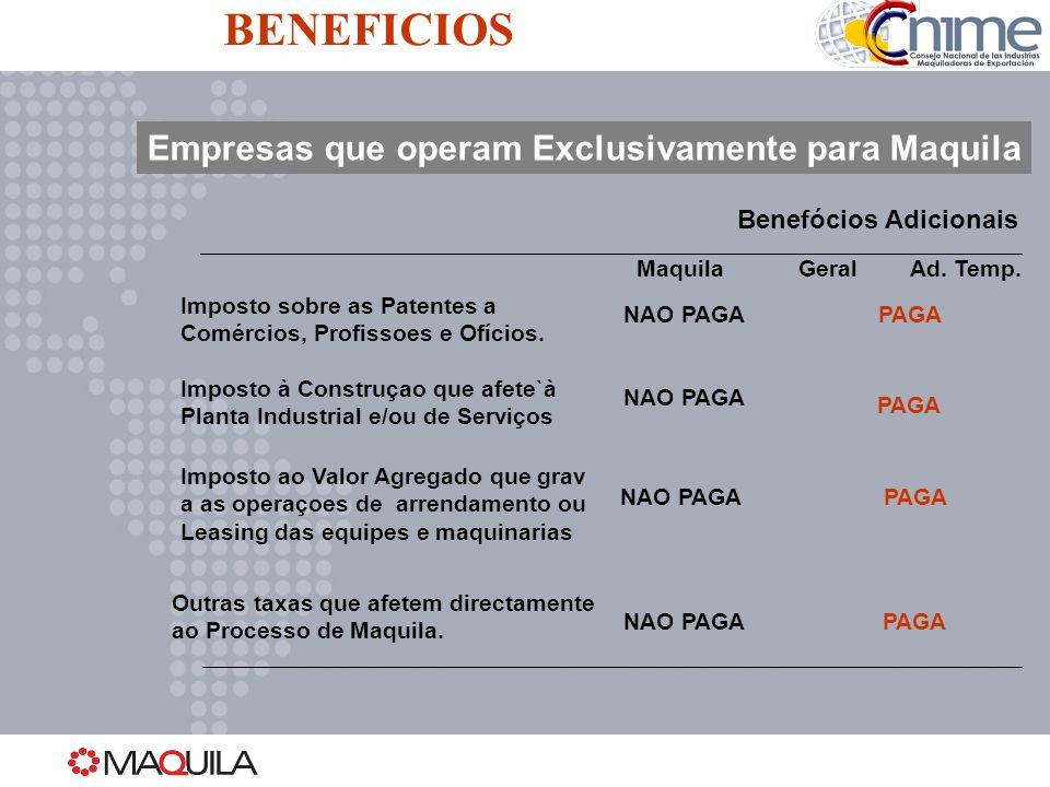 Empresas que operam Exclusivamente para Maquila MaquilaGeralAd. Temp. Imposto sobre as Patentes a Comércios, Profissoes e Ofícios. Imposto à Construça