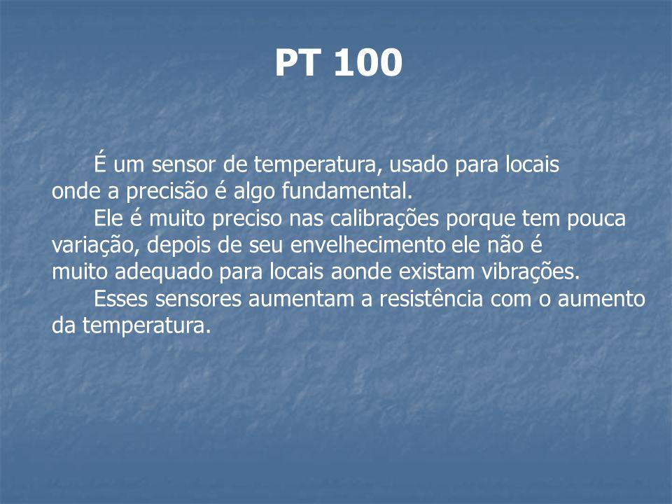 PT 100 É um sensor de temperatura, usado para locais onde a precisão é algo fundamental. Ele é muito preciso nas calibrações porque tem pouca variação