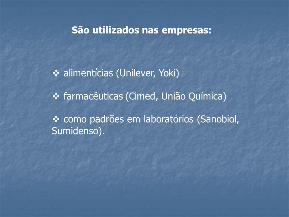  alimentícias (Unilever, Yoki)  farmacêuticas (Cimed, União Química)  como padrões em laboratórios (Sanobiol, Sumidenso). São utilizados nas empres