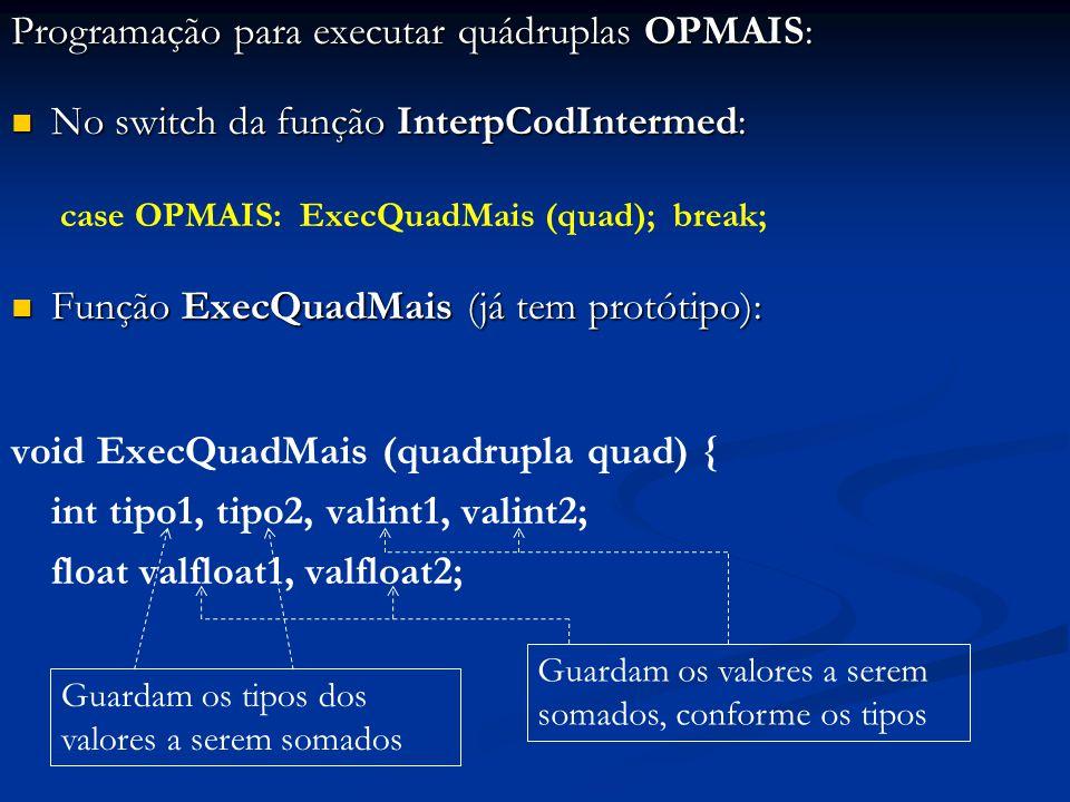 Programação para executar quádruplas OPMAIS: No switch da função InterpCodIntermed: No switch da função InterpCodIntermed: case OPMAIS: ExecQuadMais (quad); break; Função ExecQuadMais (já tem protótipo): Função ExecQuadMais (já tem protótipo): void ExecQuadMais (quadrupla quad) { int tipo1, tipo2, valint1, valint2; float valfloat1, valfloat2; Guardam os tipos dos valores a serem somados Guardam os valores a serem somados, conforme os tipos