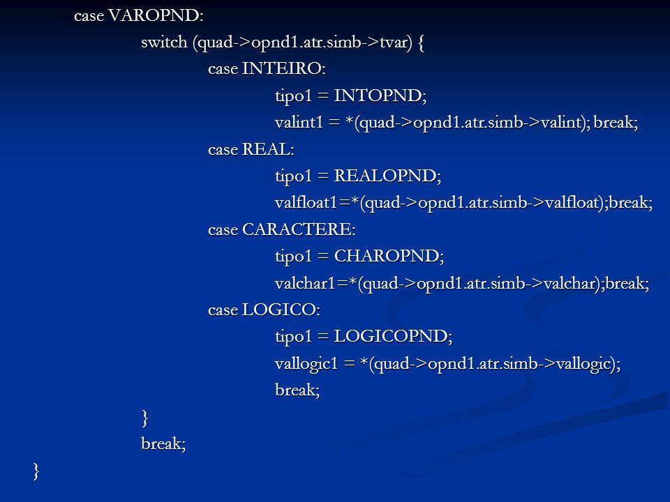 case VAROPND: switch (quad->opnd1.atr.simb->tvar) { case INTEIRO: tipo1 = INTOPND; valint1 = *(quad->opnd1.atr.simb->valint); break; case REAL: tipo1 = REALOPND; valfloat1=*(quad->opnd1.atr.simb->valfloat);break; case CARACTERE: tipo1 = CHAROPND; valchar1=*(quad->opnd1.atr.simb->valchar);break; case LOGICO: tipo1 = LOGICOPND; vallogic1 = *(quad->opnd1.atr.simb->vallogic); break;}break;}