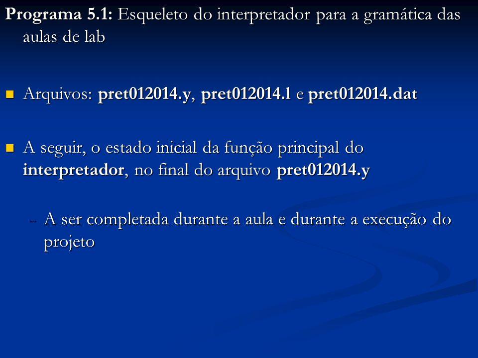 Programa 5.1: Esqueleto do interpretador para a gramática das aulas de lab Arquivos: pret012014.y, pret012014.l e pret012014.dat Arquivos: pret012014.y, pret012014.l e pret012014.dat A seguir, o estado inicial da função principal do interpretador, no final do arquivo pret012014.y A seguir, o estado inicial da função principal do interpretador, no final do arquivo pret012014.y  A ser completada durante a aula e durante a execução do projeto