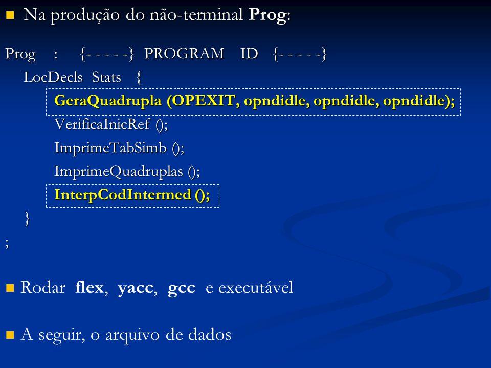Na produção do não-terminal Prog: Na produção do não-terminal Prog: Prog: {- - - - -} PROGRAM ID {- - - - -} LocDecls Stats { GeraQuadrupla (OPEXIT, opndidle, opndidle, opndidle); GeraQuadrupla (OPEXIT, opndidle, opndidle, opndidle); VerificaInicRef (); VerificaInicRef (); ImprimeTabSimb (); ImprimeTabSimb (); ImprimeQuadruplas (); ImprimeQuadruplas (); InterpCodIntermed (); InterpCodIntermed ();}; Rodar flex, yacc, gcc e executável A seguir, o arquivo de dados