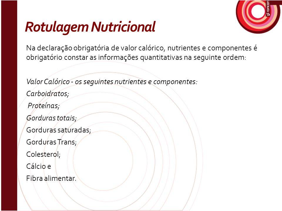 Na declaração obrigatória de valor calórico, nutrientes e componentes é obrigatório constar as informações quantitativas na seguinte ordem: Valor Caló