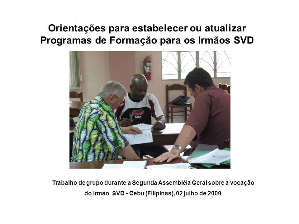 Orientações para estabelecer ou atualizar Programas de Formação para os Irmãos SVD Trabalho de grupo durante a Segunda Assembléia Geral sobre a vocação do Irmão SVD - Cebu (Filipinas), 02 julho de 2009