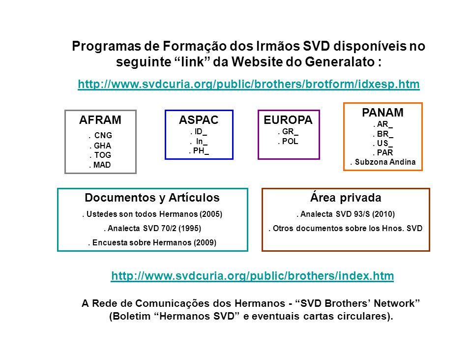 Programas de Formação dos Irmãos SVD disponíveis no seguinte link da Website do Generalato : http://www.svdcuria.org/public/brothers/brotform/idxesp.htm AFRAM.