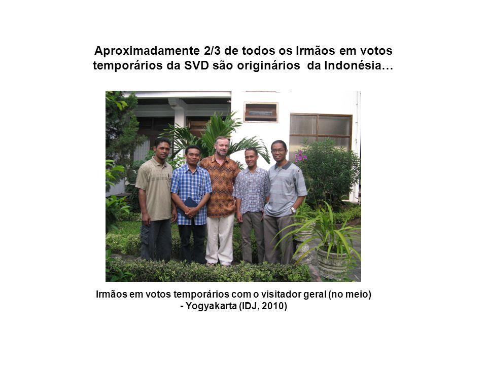 Irmãos em votos temporários com o visitador geral (no meio) - Yogyakarta (IDJ, 2010) Aproximadamente 2/3 de todos os Irmãos em votos temporários da SVD são originários da Indonésia…
