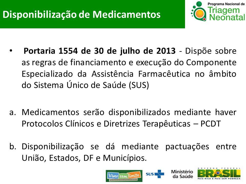 Portaria 1554 de 30 de julho de 2013 - Dispõe sobre as regras de financiamento e execução do Componente Especializado da Assistência Farmacêutica no â