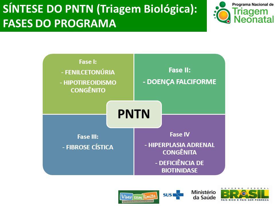 SÍNTESE DO PNTN (Triagem Biológica): FASES DO PROGRAMA Fase I: - FENILCETONÚRIA - HIPOTIREOIDISMO CONGÊNITO Fase II: - DOENÇA FALCIFORME Fase III: - F