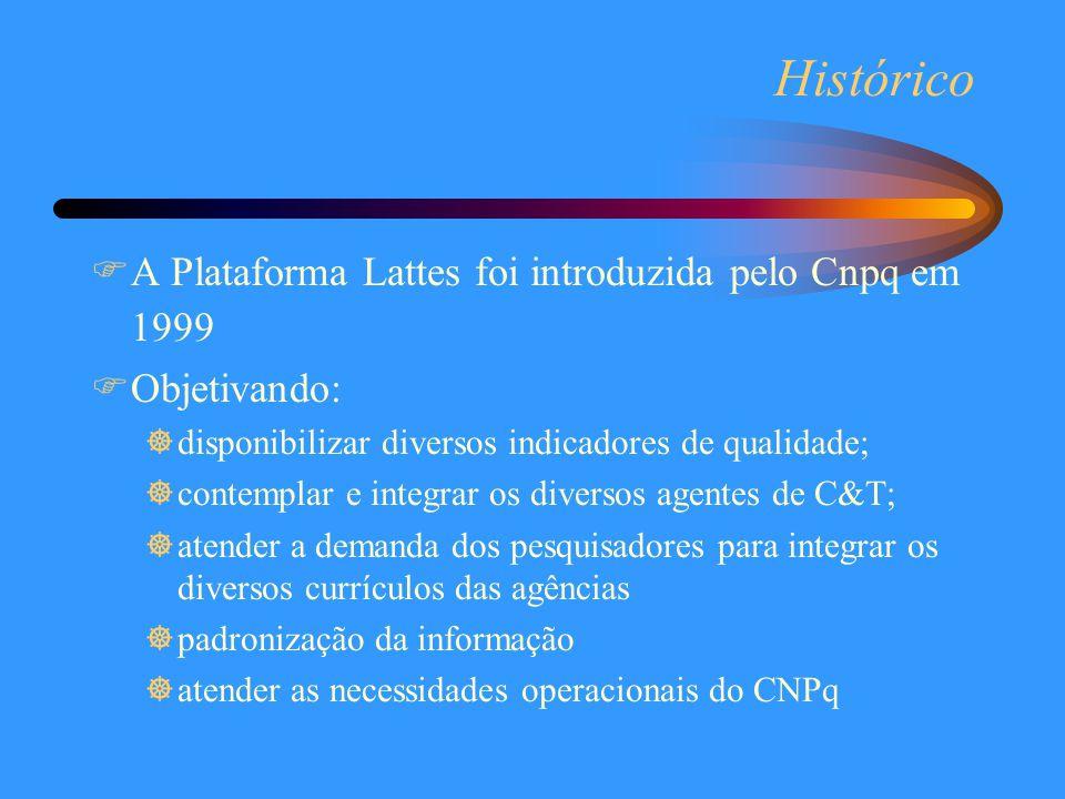 Histórico  A Plataforma Lattes foi introduzida pelo Cnpq em 1999  Objetivando: ]disponibilizar diversos indicadores de qualidade; ]contemplar e inte