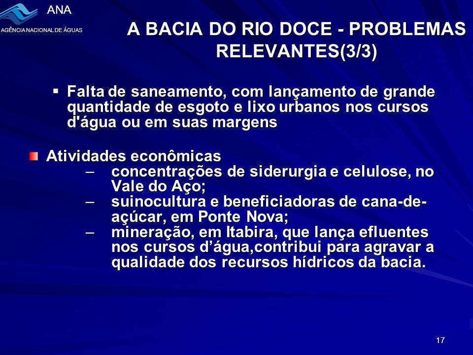 ANA AGÊNCIA NACIONAL DE ÁGUAS 17 A BACIA DO RIO DOCE - PROBLEMAS RELEVANTES(3/3)  Falta de saneamento, com lançamento de grande quantidade de esgoto e lixo urbanos nos cursos d água ou em suas margens Atividades econômicas –concentrações de siderurgia e celulose, no Vale do Aço; –suinocultura e beneficiadoras de cana-de- açúcar, em Ponte Nova; –mineração, em Itabira, que lança efluentes nos cursos d'água,contribui para agravar a qualidade dos recursos hídricos da bacia.
